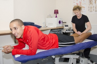 Calf massage to elite athlete